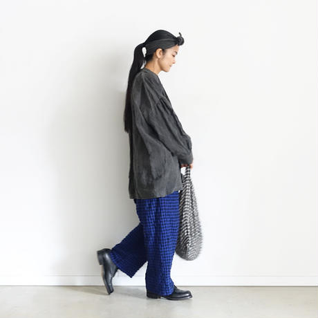 【ONLINE LIMITED】ichiAntiquités 600646 Cotton Wool Gingham Pants+Bag / B : ROYAL BLUE GINGHAM PANTS