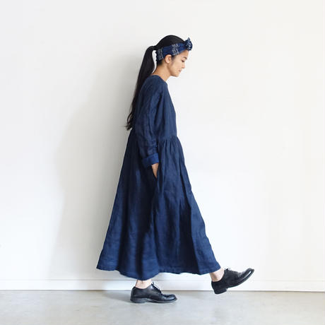 ichiAntiquités 600934 INDIGO Linen Denim Dress / B : DARK