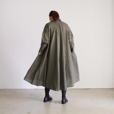 i c h i 180421 Cotton/Linen Lace-up Dress / Khaki