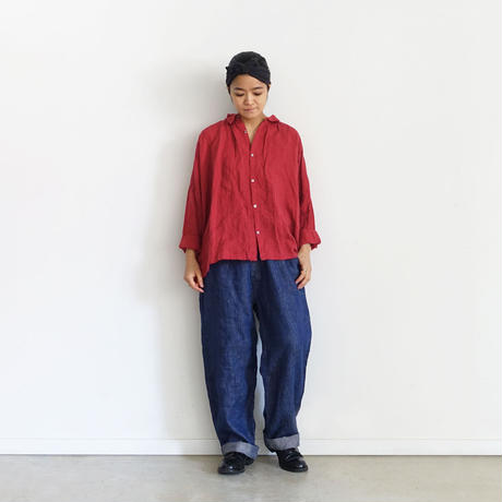 ichiAntiquités 500634  Linen Denim Work Pants / C : NAVY
