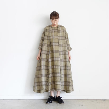 ichi 201222 Linen Check One Piece / A : OLIVE