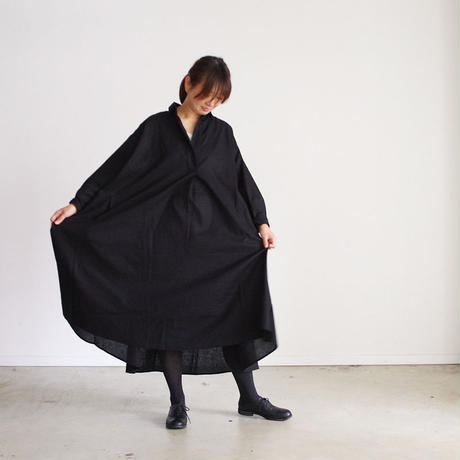 i c h i 180421 Cotton/Linen Lace-up Dress / Black