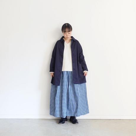 ichi 200711 Linen Cotton Indigo Check Skirt / 2 COLORS