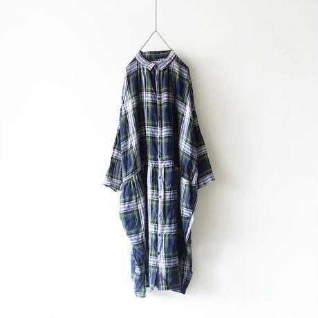 ichiAntiquités 100606 LinenTartan Shirt Dress / GREEN