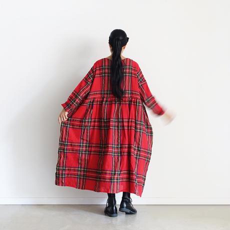 ichiAntiquités  700322 Wool Tartan Volume Dress / A : RED