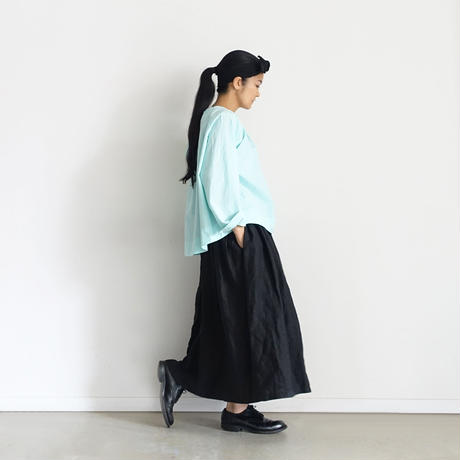 ichiAntiquités 600902 Cotton AZUMADAKI Ribbon Neck Blouse / 2 COLORS : MINT・BLACK