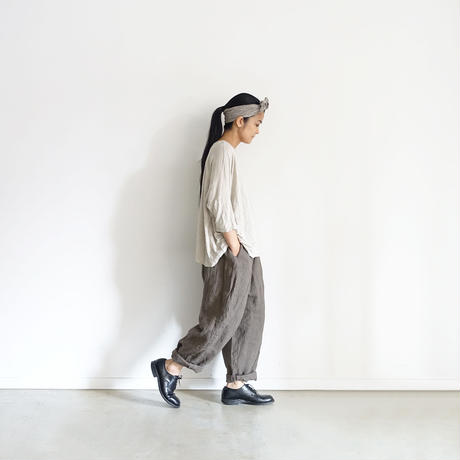 ichiAntiquités 500335  Linen Pants / GRAYISH BROWN
