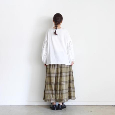 ichi 201223 Linen Check Skirt / A : OLIVE