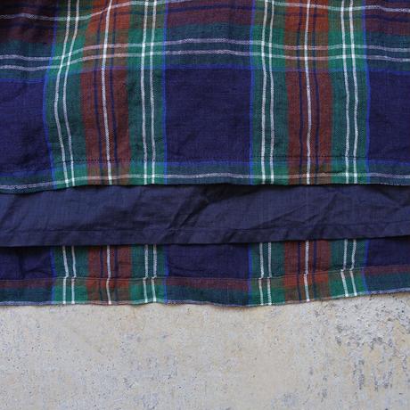 ichiAntiquités 600617 Linen Tartan Skirt / B : NAVY
