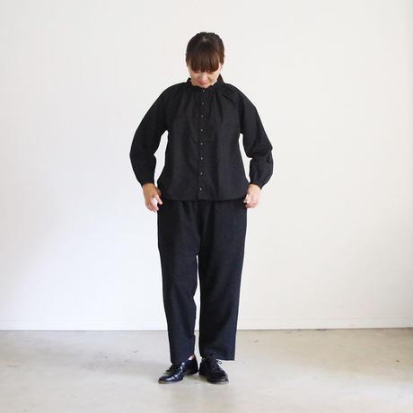 i c h i 180602 Cotton Typewriter Gather Shirts / Black