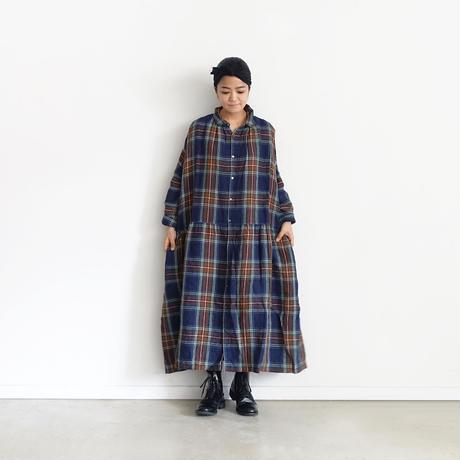 ichiAntiquités 600616 Linen Tartan Shirt Dress / B : NAVY