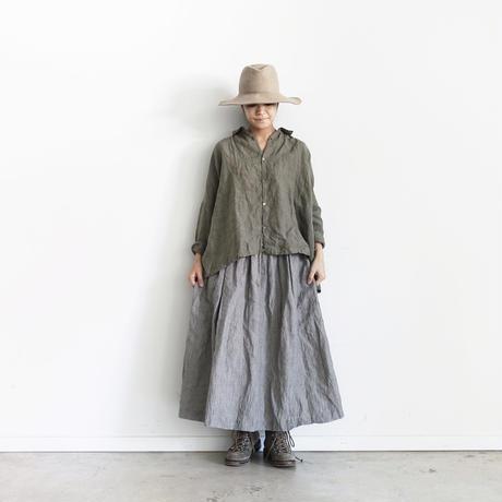 ichiAntiquités 100308 Linen Dungaree Skirt / STRIPE