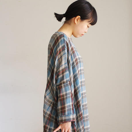190410 Wool Gauze Check One Piece / BROWN