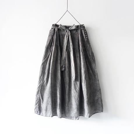 ichiAntiquités  601245  Handdye KHADI Cotton Pintuck Flare Skirt / A : SUMI