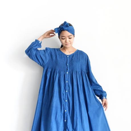 ichiAntiquités  601243  Handdye KHADI Cotton Pintuck Flare Shirt Dress / B : INDIGO