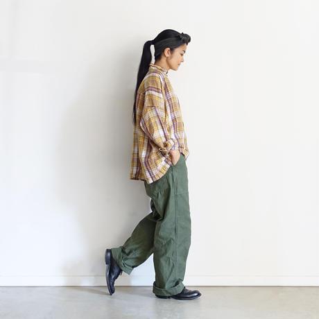 ichiAntiquités 600915 Linen Farmers Tartan Shirt / B : BEIGE