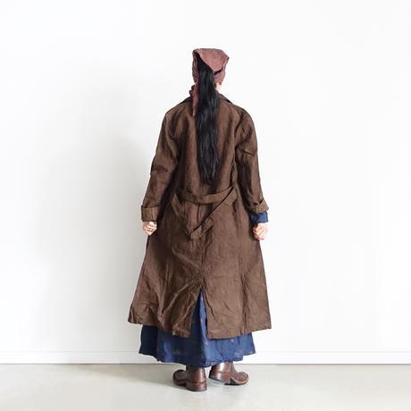 ichiAntiquités 700306 Organic Linen Embroidery Dots Shirt Dress / B :  NAVY