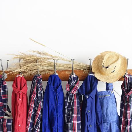 ichiAntiquités 600915 Linen Farmers Tartan Shirt / C : NAVY