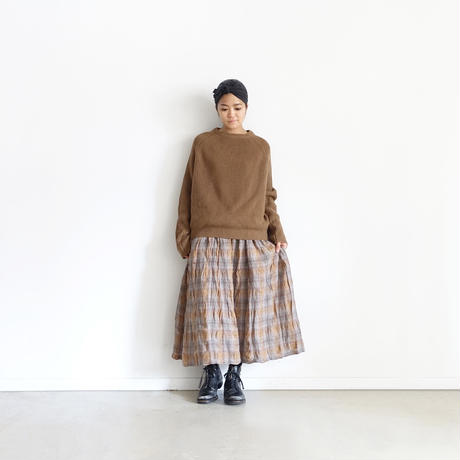 ichiAntiquités 500328 Italy Linen  Check Skirt / BROWN