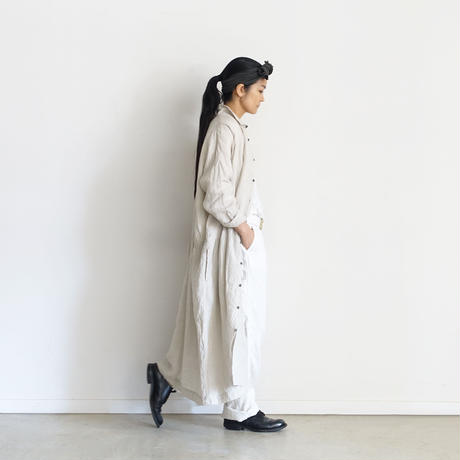 ichiAntiquités 600910 Color Linen Shirt Dress / 2 COLORS : GREIGE・PINK