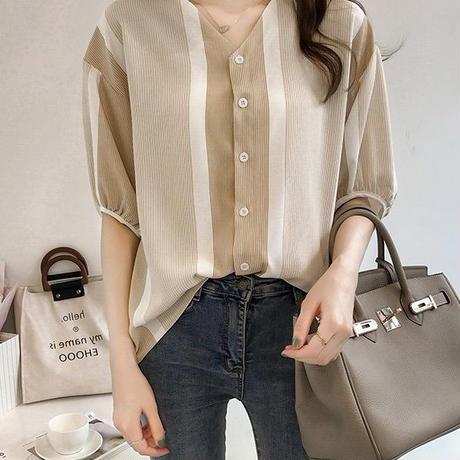 薄手シャツ レディース シャツブラウス シフォンシャツ カジュアル ミディアム丈 Vネック 大きいサイズ トップス