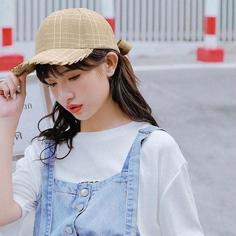バックリボンキャップ 帽子 レトロ カジュアル フリル チェック柄 ツバあり サイズ調節 レディース その他