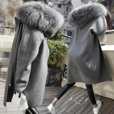 コート ウールコート エレガント ロング丈 ラージサイズ ファー付きフード 無地 ジッパー