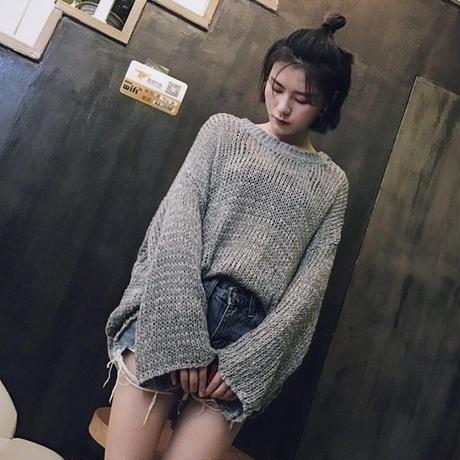 レディース セーター レトロ ミディアム丈 クルーネック トランペットスリーブ 透け編み ざっくりニット 無地 大きいサイズ