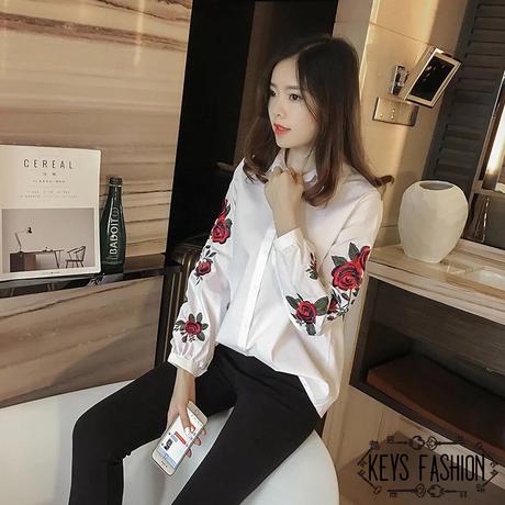 花柄 刺繍 シャツ 長袖 カジュアル ストライプ