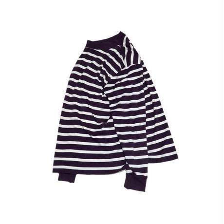 【LANDS' END】 アメリカ製 モックネック ボーダーカットソー Lサイズ