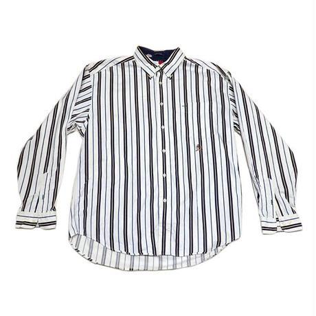 【トミーヒルフィガー】 90s ストライプ柄 DBシャツ ビッグシルエット