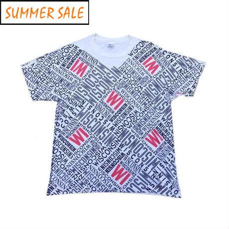 【アメリカ古着】 90s アメリカ製 ウィスコンシン総柄 Tシャツ XLサイズ