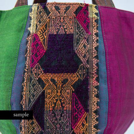 463|バリコットン×ラオス手織りボーダー ボニートート(size/S)