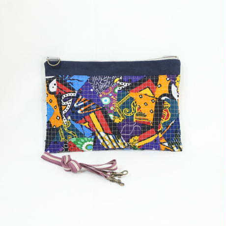 011|cut 布のかけらを集めたポーチ(Kenya)