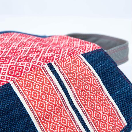 475|武州正藍染×台湾伝統柄 ボニーバッグ(size/S)本革ショルダー付き