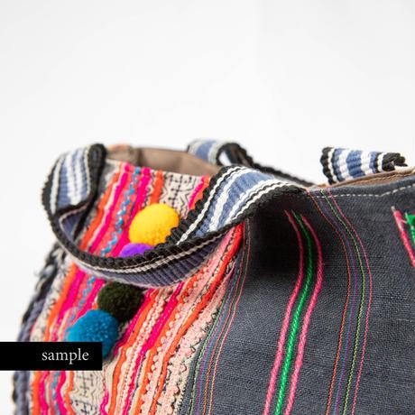 420|モン族古布・フィリピンベルト・ポンポン ボニー(size/S)本革ショルダー付き