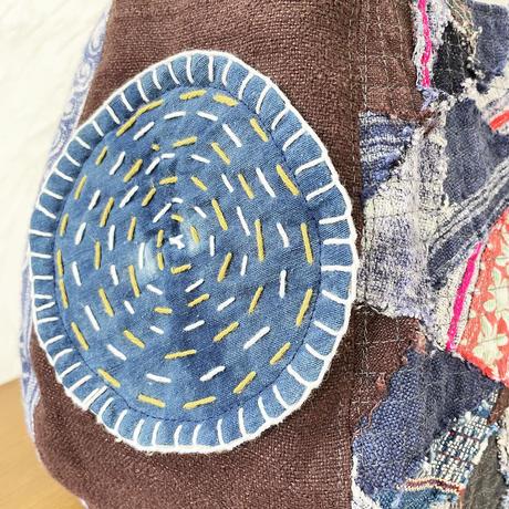 486|タイ藍、ナガ族ベルトハンドル、ボニーバッグ(size/S)