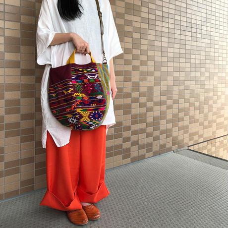231|ブータン・手織布ボニーバッグ(size/L) 本革ショルダー付き