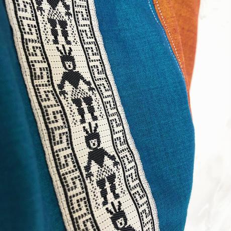 303| インドネシア・台湾 ウッドハンドル ボニーバッグ(ブルー)(size/M)