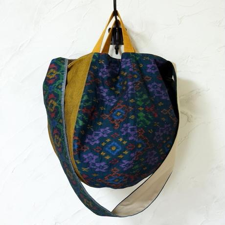 バリの横絣×フィリピンの手織り布 ボニーバッグLサイズ