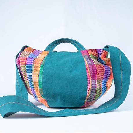298|ミャンマー・パラウン族の手織り布ボニーバッグ(size/M)