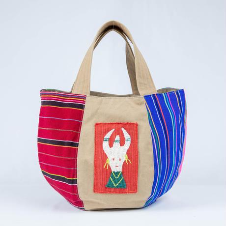 301 ミャンマー・パラウン族の手織り布とナガ族手刺繍ボニートート(size/M)