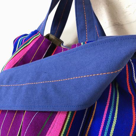 319|ミャンマー・パラウン族の手織り布ボニーバッグ(青)(size/M)