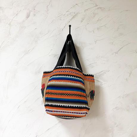 288|  メキシコ手織り古布・ナガ族刺繍(ミャンマー)トート