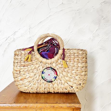 512|かごバッグ・フィリピン古布巾着