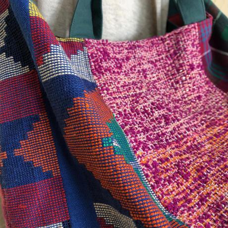 075|フィリピン伝統織物と日本の「さをり織り」のボニーバッグLサイズ