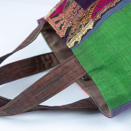462|バリコットン×ラオス手織りボーダー ボニートート(size/S)