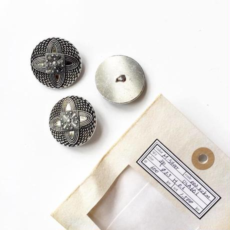 Vintage button/ヴィンテージボタン  MSV002/Metal Silver/3pcs set