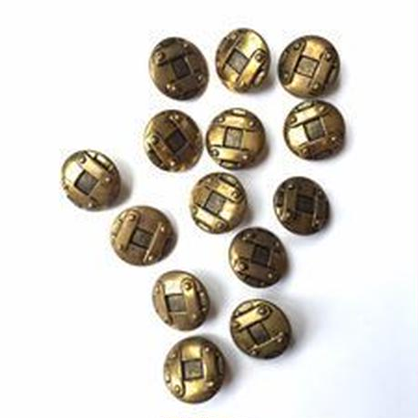 Vintage button/ヴィンテージボタン MGD027/Metal Gold/14pcs set