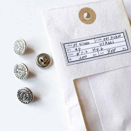 Vintage button/ヴィンテージボタン MSV061/Metal Silver/4pcs set